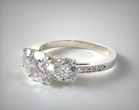 14k White Gold Three Stone Round and Pave Set Engagement