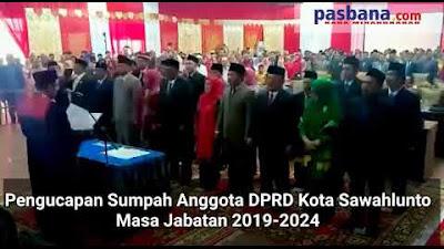 Anggota DPRD Kota Sawahlunto Masa Bakti 2019-2024 Ucapkan Sumpah Jabatan