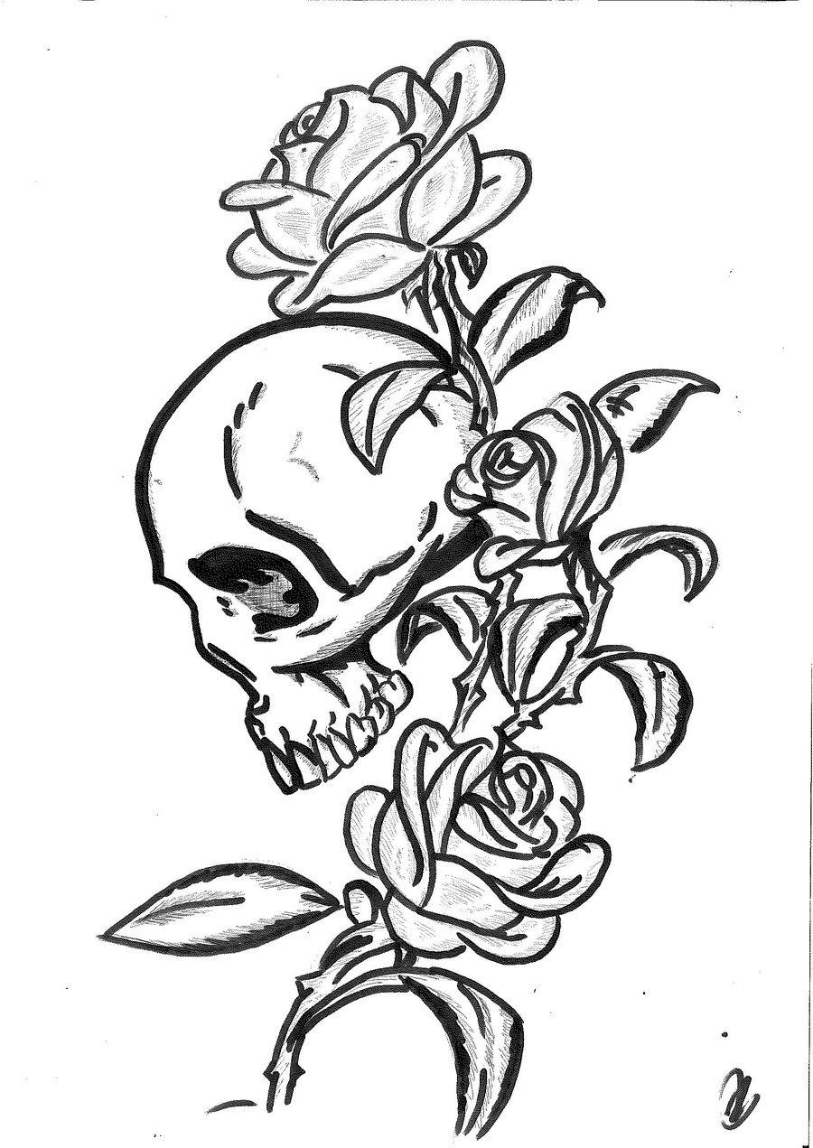 Rose Skull Tattoo Design By Mokheir35 On Clipart Library Clip Art