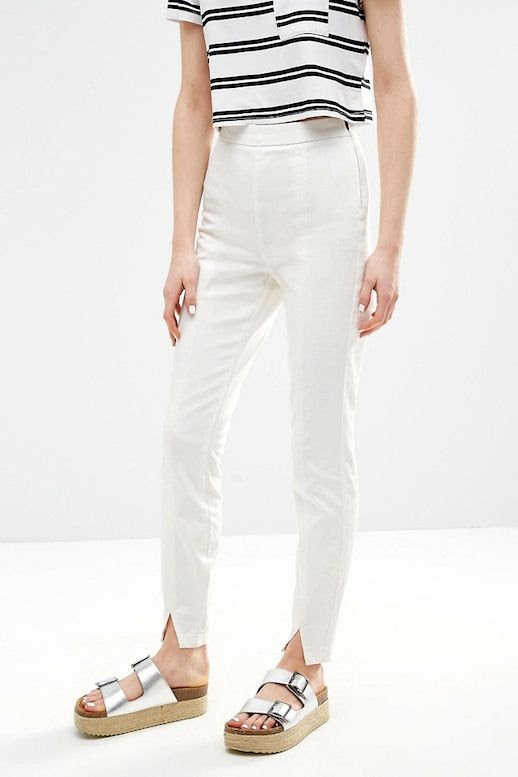 Le Fashion Blog Summer BBQ Style Cropped Striped Tee Shirt White Split Front Pants Silver Platform Heeled Sandals Via ASOS