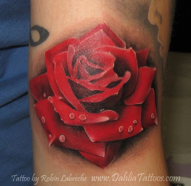 Red Rose Tattoo On Bicep