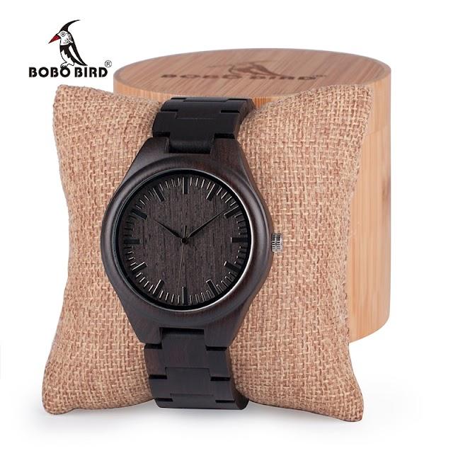 Goede Koop BOBO VOGEL Mens Black Ebony Houten Horloges Hout Horloge Links Causale Quartz Relogio Masculino In Geschenkdoos Custom Logo Goedkoop