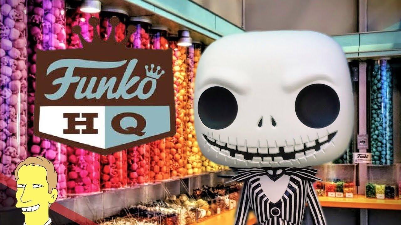 rainbow of funko pop pieces on display at Funko Pop Headquarders