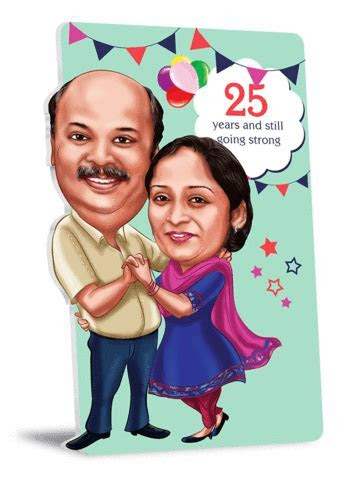 25th Anniversary 2D Couple Caricature Gift Sets   Caricme