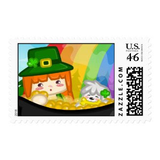 St. Patrick's Day: Libbi and Suki Postage stamp