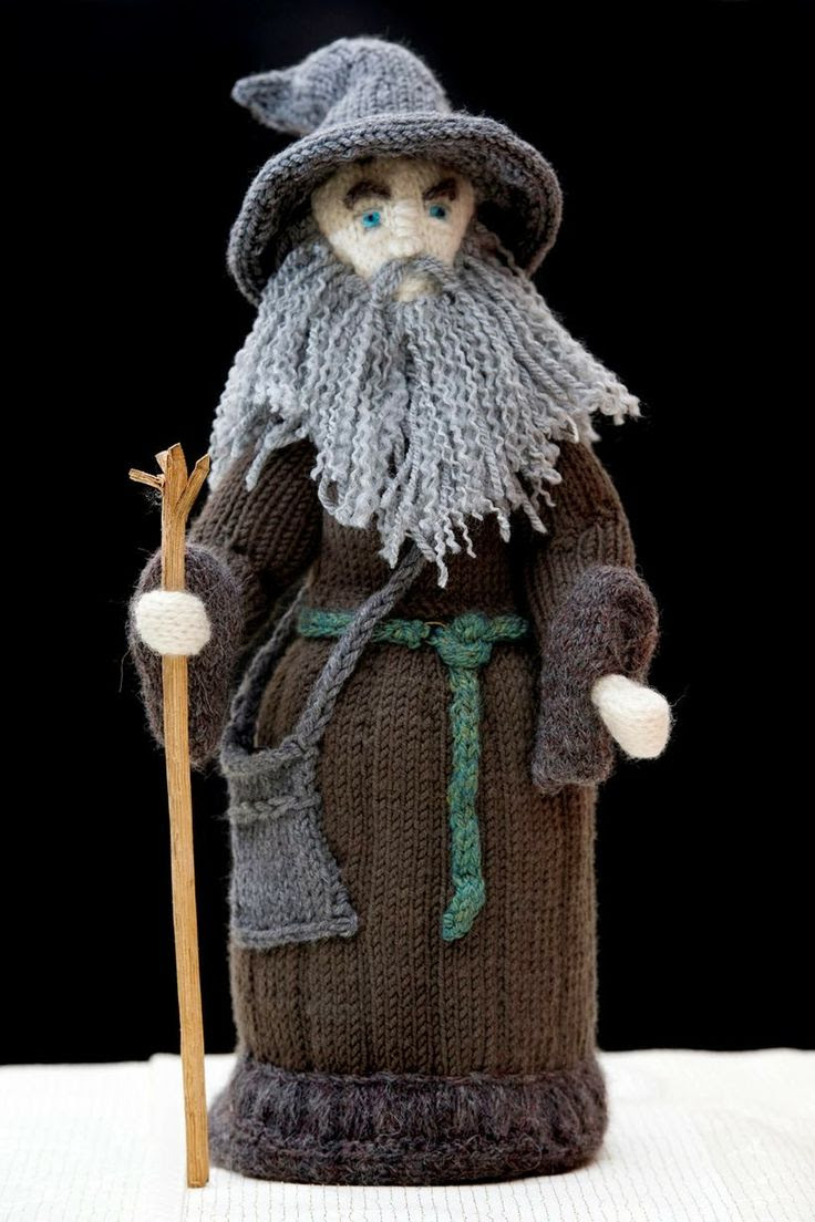 Grandmother's stunning knitted models of Lord of the Rings and The Hobbit characters (Gandalf)