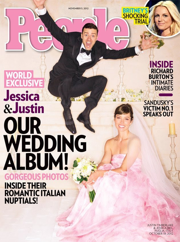For her October 19 wedding to Justin Timberlake, actress Jessica Biel got glamorous with a voluminous petal-pink tiered strapless Giambattista Valli Haute Couture gown. The bride's custom veil had