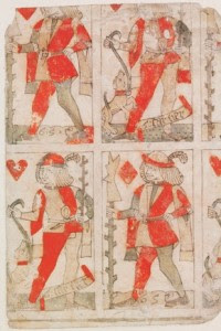 Part of an uncut sheet of playing cards by Gilles Savoure. Lyon, 1490.