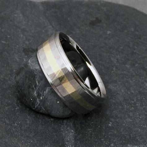 Titanium Gold Ring, Wood Grain Sequoia, 18k Yellow Rose Or
