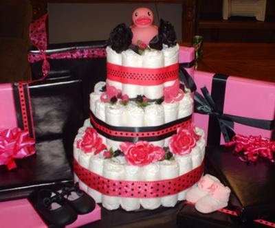 Unitys Pink And Black Diaper Cake
