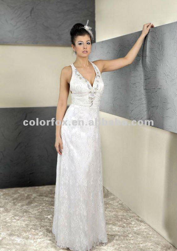 Charming Sexy Deep V Neckline Backless Lace Bridal Wedding Dress