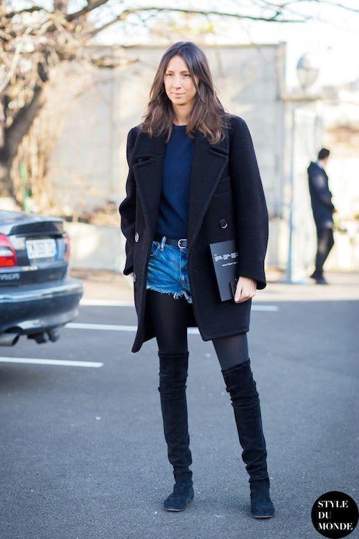Le Fashion Blog Denim Cut Offs Jean Shorts For Fall Geraldine Saglio Paris Parisian Street Style Coat Sweater Tights Thigh High Flat Boots Via Style Du Monde