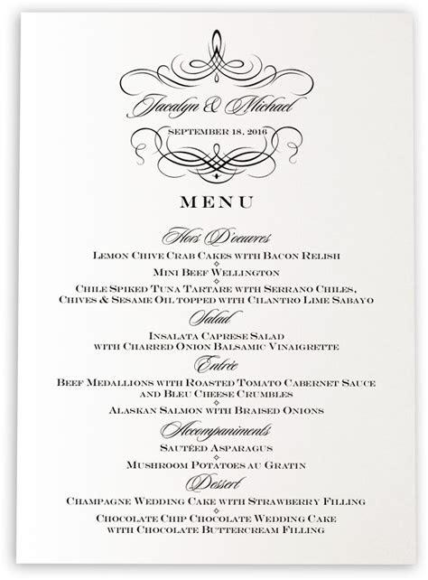 Flourish Monogram 04 Wedding Menu Cards and Custom