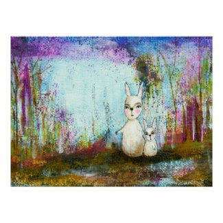 Whimsical Rabbits Abstract Art Original Painting Posters