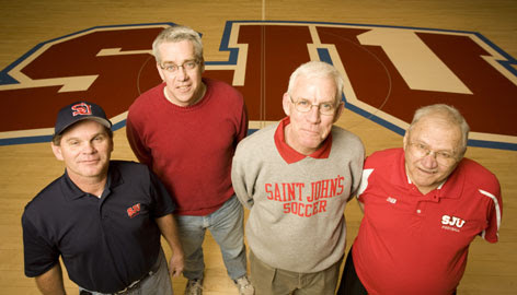 Among Saint John's University coaches with tenures of three decades or more are, from left, Jerry Haugen, baseball, 32 years; Tim Miles, track, 30 years; Pat Haws, soccer, 31 years; and John Gagliardi, football, 56 years.