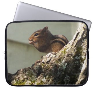 "15"" Laptop Sleeve Water Resistant. W/ Chipmunk"