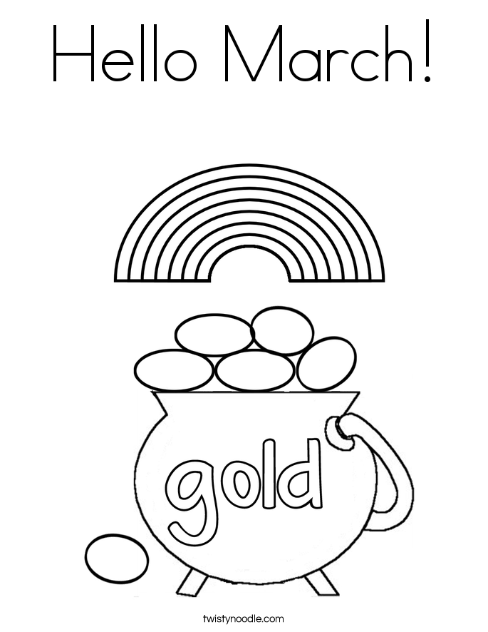 Hello March Coloring Page - Twisty Noodle