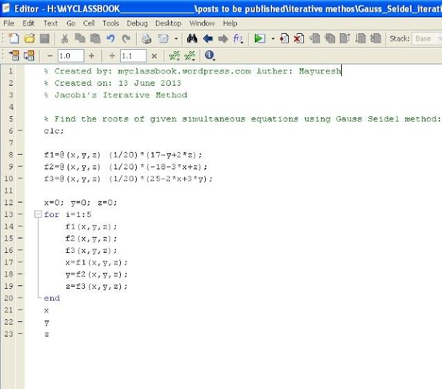 Gauss Seidel Method MATLAB Program & Algorithm