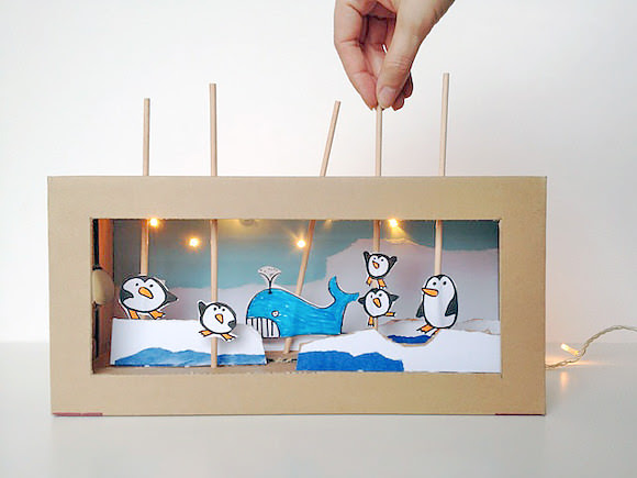 DIY Cartón Shoebox Theater (con luces de trabajo!)