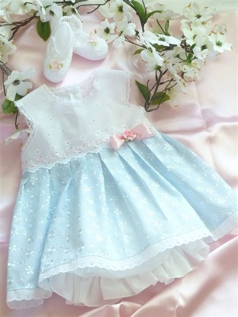 3   6 Months White and Blue Eyelet Baby Dress   LITTLE