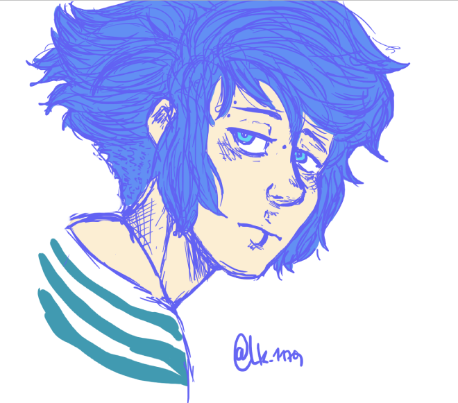 doodle Au-human Peridot and Lapis Lazuli in my serious style (?) I don't know, I'm trash..