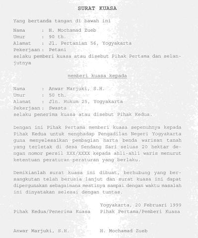 Contoh Surat Kuasa Penunjukan Ahli Waris - Kumpulan Contoh ...