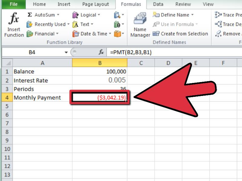 Calculate a Monthly Payment in Excel Step 12 Version 3