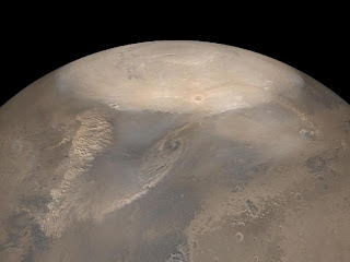 Tormenta de arena en el planeta Marte