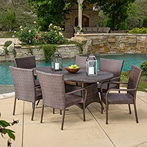 Amazon.com : 7 Piece Outdoor Patio Dining Set - Weather ...
