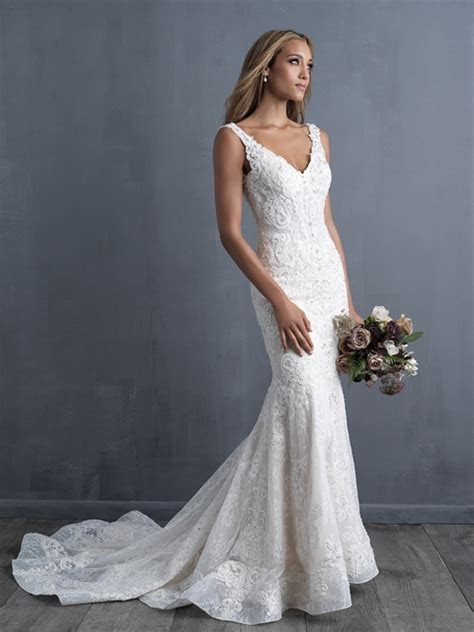 Sleeveless V neck Beaded Lace Fit And Flare Wedding Dress