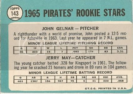 #143 Pirates Rookie Stars: John Gelnar and Jerry May (back)