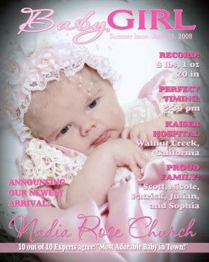 Magazine Cover Baby Girl Birth Announcement