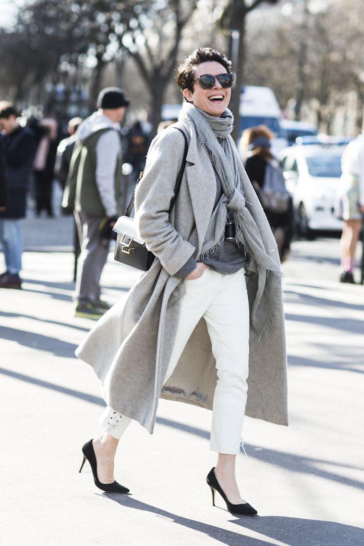 white jeans, layers of soft greys. Garance Dore.