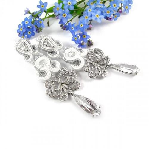 długie kolczyki ślubne sutasz novia blanca