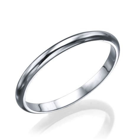 White Gold Men's Wedding Ring   2.5mm Rounded Design by