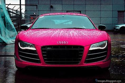 Pink, audi, car, raining, wet, front, view