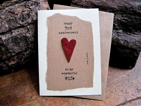 3rd #Wedding Anniversary Card LEATHER #Traditional Symbol
