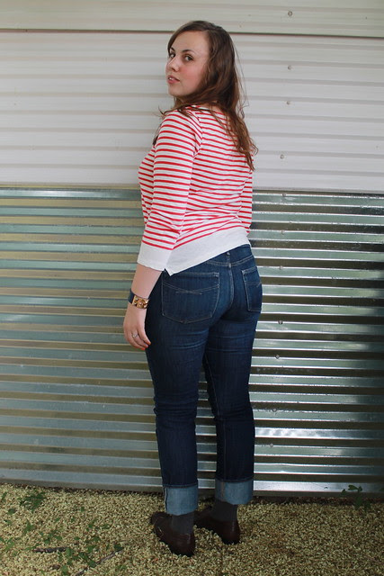 "Le Petit Écolier outfit: Straight-leg Gap jeans, Wanted brown leather brogues, J.Crew ""Sailor Boatneck Tee"", J.Crew pavé cable bracelet, signet ring, etc."