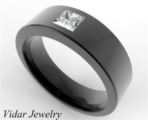 Black Gold Princess Cut Diamond Men's Wedding Band   Vidar