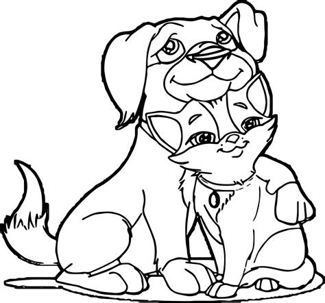 dog  cat friends coloring pages wecoloringpagecom
