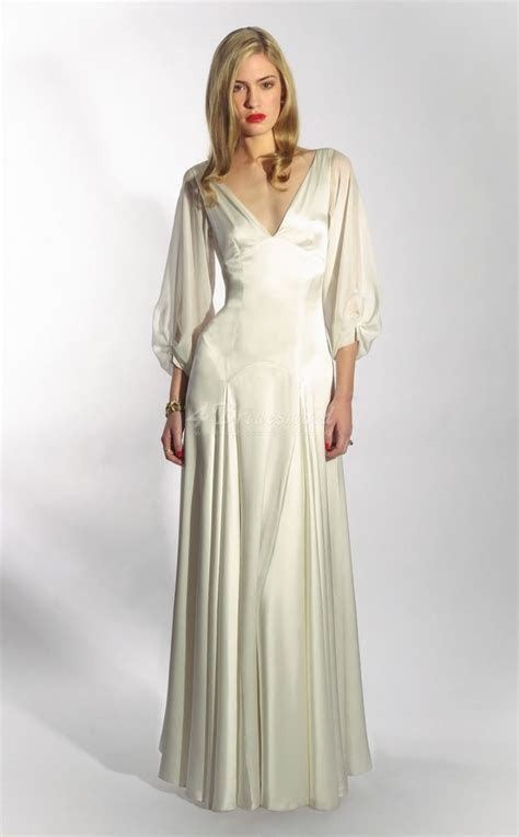 classic and timeless satin chiffon v neck 3 4 length