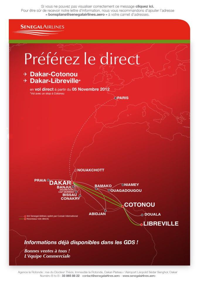 Senegal Airlines ad for Cotonou and Libreville, Gabon