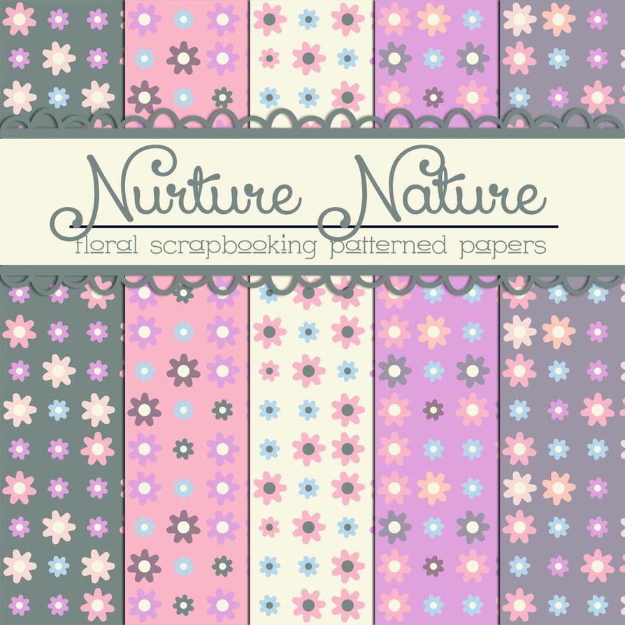 Free Nurture Nature Floral Papers by TeacherYanie