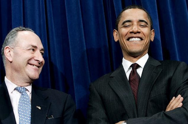 Sen. Chuck Schumer, D-N.Y. and President Barack Obama in happier times