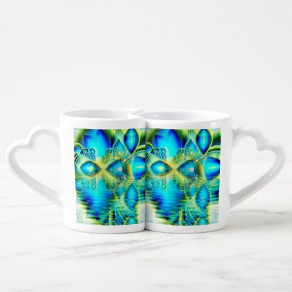 Crystal Lime Turquoise Heart of Love, Abstract Lovers Mug Sets