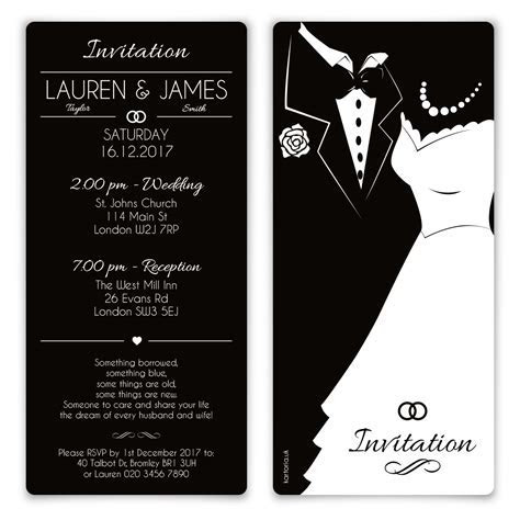 Wedding Invitation Cards   Black and White Bride and Groom