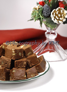 chocolate fudge in a christmas setting