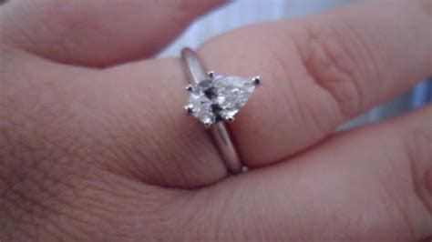 Pear shaped rings and carat size on finger   Weddingbee