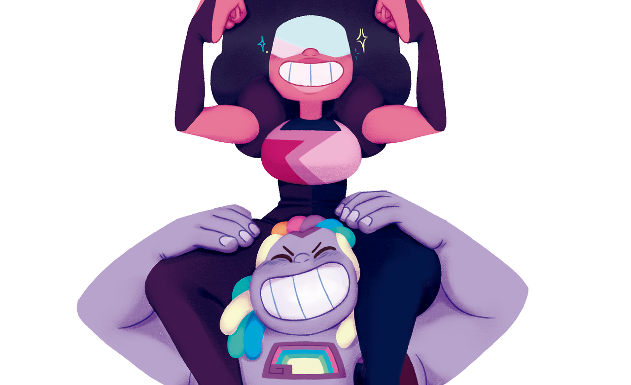 ✨ Bismuth holding Garnet! ✨ Love Machine and Rainbow Pride sending you all some of Garnet and Bismuth's strength and good vibes to help you get through tough days.