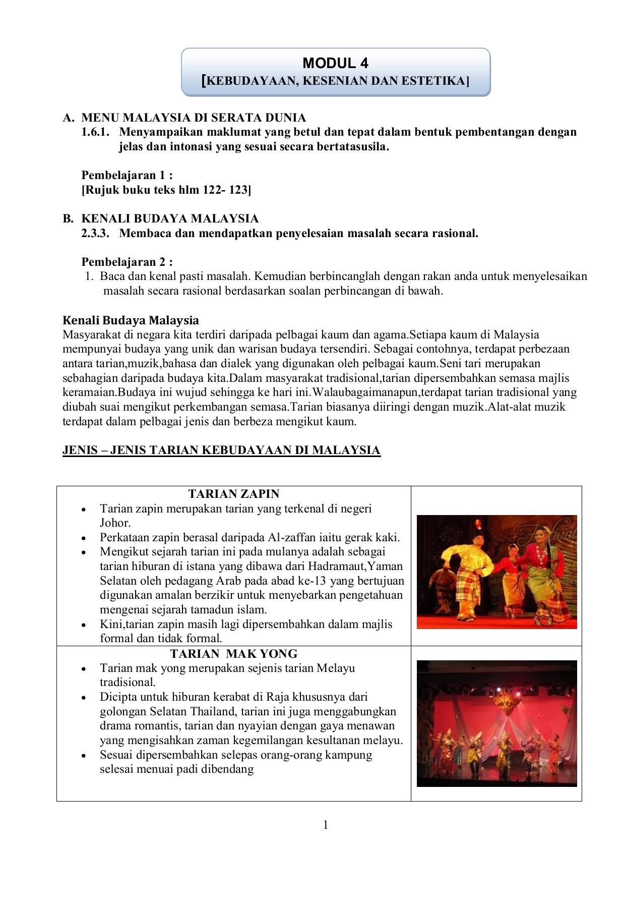 Tema 4 Kebudayaan Kesenian Dan Estetika Pages 1 15 Text Version Anyflip